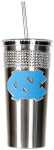 NCAA NC Tar Heels Stainless Bling Tumbler Straw