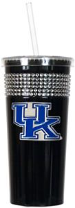 NCAA Kentucky Wildcats Black Bling Tumbler w/Straw
