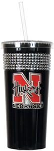 NCAA Nebraska Black Bling Tumbler w/Straw