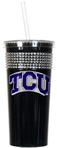 NCAA Texas Christian Black Bling Tumbler w/Straw