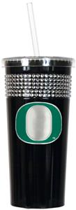 NCAA Oregon Ducks Black Bling Tumbler w/Straw