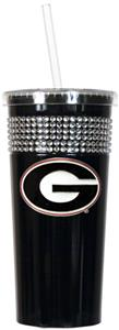 NCAA Georgia Bulldogs Black Bling Tumbler w/Straw