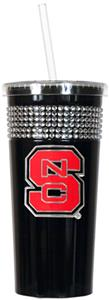 NCAA North Carolina St Black Bling Tumbler w/Straw
