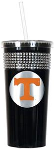 NCAA Tennessee Vols Black Bling Tumbler w/Straw