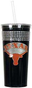 NCAA Texas Longhorns Black Bling Tumbler w/Straw