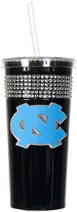 NCAA North Carolina Black Bling Tumbler w/Straw