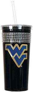 NCAA West Virginia Black Bling Tumbler w/Straw