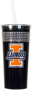 NCAA Illinois Black Bling Tumbler w/Straw