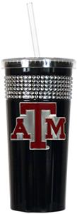 NCAA Texas A&M Aggies Black Bling Tumbler w/Straw
