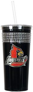 NCAA Louisville Black Bling Tumbler w/Straw