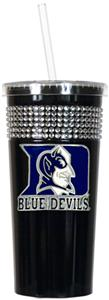 NCAA Duke Blue Devils Black Bling Tumbler w/Straw