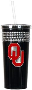 NCAA Oklahoma Sooners Black Bling Tumbler w/Straw