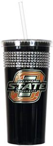NCAA Oklahoma State Black Bling Tumbler w/Straw