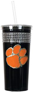 NCAA Clemson Tigers Black Bling Tumbler w/Straw