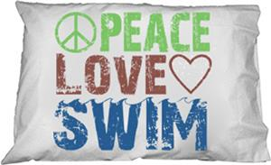 1 Line Sports Peace Love Swim Pillowcase