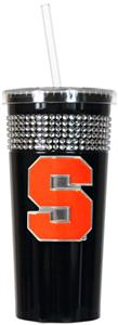 NCAA Syracuse Orange Black Bling Tumbler w/Straw
