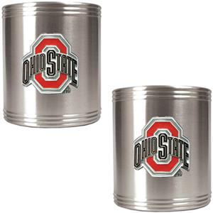 NCAA Ohio State 2pc Stainless Steel Can Holder Set