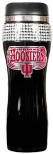 NCAA Indiana Black Stainless Bling Travel Tumbler