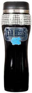 NCAA Tar Heel Black Stainless Bling Travel Tumbler