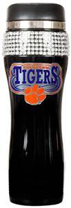 NCAA Clemson Black Stainless Bling Travel Tumbler