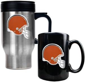 NFL Cleveland Browns Travel Mug & Coffee Mug Set