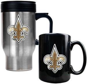 NFL New Orleans Saints Travel Mug & Coffee Mug Set