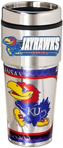 NCAA Kansas Travel Tumbler Hi-Def Metallic Graphic