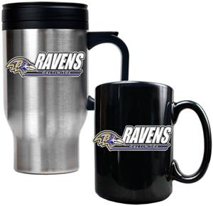 NFL Baltimore Ravens Travel Mug & Coffee Mug Set