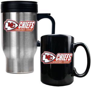 NFL Kansas City Chiefs Travel Mug & Coffee Mug Set