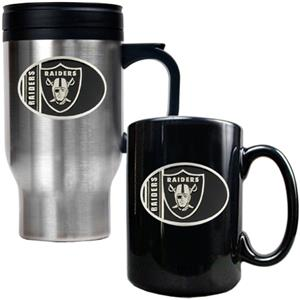 NFL Oakland Raiders Travel Mug & Coffee Mug Set