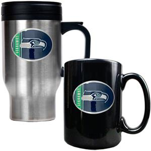 NFL Seattle Seahawks Travel Mug & Coffee Mug Set