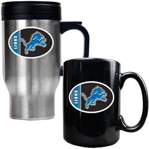 NFL Detroit Lions Travel Mug & Coffee Mug Set