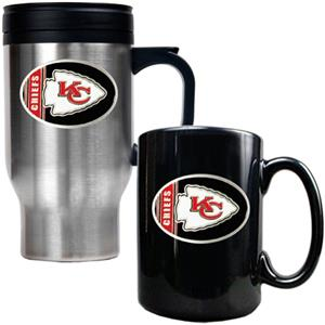 NFL Kansas City Chiefs Travel Mug & Coffee Mug Set