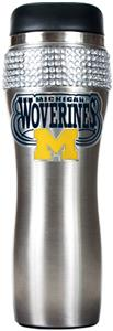 NCAA Michigan Stainless Steel Bling Travel Tumbler