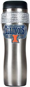 NCAA Illinois Stainless Steel Bling Travel Tumbler