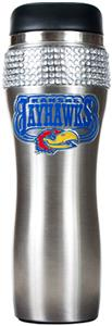 NCAA Kansas Stainless Steel Bling Travel Tumbler
