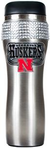 NCAA Nebraska Stainless Steel Bling Travel Tumbler