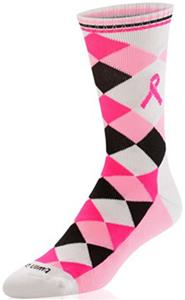Twin City Argyle Pink Aware Crew Socks