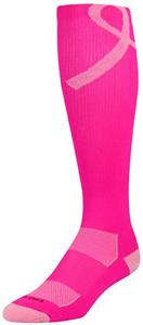 Twin City Pink Aware Over Calf Socks - Lg Ribbon