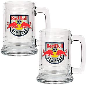 MLS New York Red Bull 2pc Glass Tankard Set