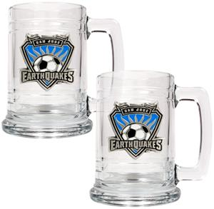 MLS San Jose Earthquakes 2pc Glass Tankard Set