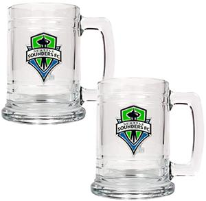 MLS Seattle Sounders 2pc Glass Tankard Set