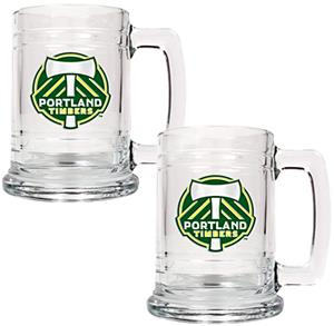 MLS Portland Timbers 2pc Glass Tankard Set
