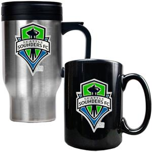 MLS Seattle Sounders Travel & Coffee Mug Set