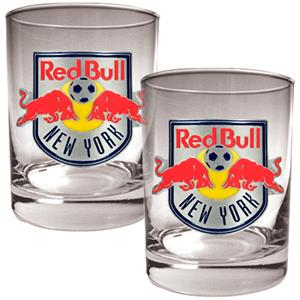 MLS New York Red Bull 2pc Rocks Glass Set