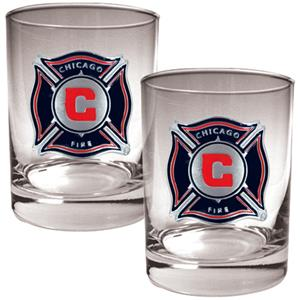 MLS Chigago Fire 2pc Rocks Glass Set