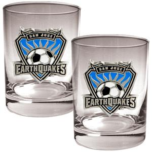 MLS San Jose Earthquakes 2pc Rocks Glass Set