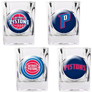 NBA Detroit Pistons 4pc Collector's Shot Glass Set