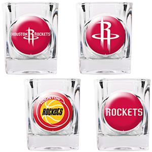 NBA Houston Rockets 4pc Collector's Shot Glass Set