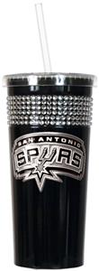 NBA San Antonio Spurs 16oz Bling Tumbler w/ Straw